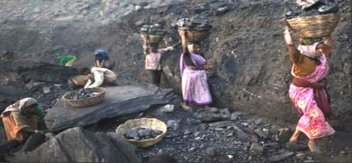 india carrying coal in mine